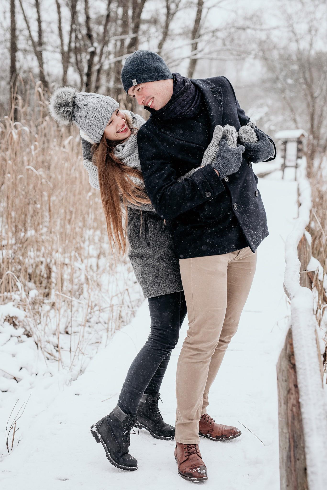 sesja pary w śniegu warszawa
