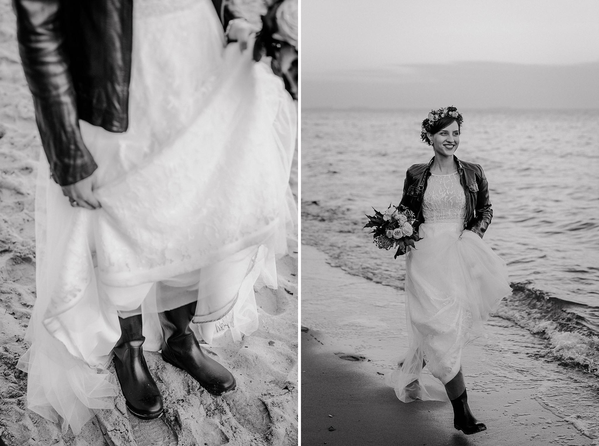 moda ślubna suknia na plaży